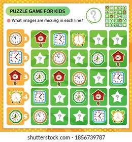 Sudoku puzzle. What images are missing in each line? Watches. Alarm clock, wall clock with cuckoo, electronic timepiece. Logic puzzle for kids. Game for children. Worksheet vector design for schoolers