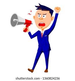 Sue businessman megaphone