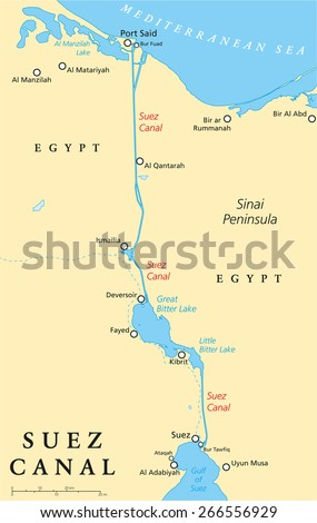 Suez Canal On Africa Map.Suez Canal Political Map Artificial Sealevel Stock Vector Royalty