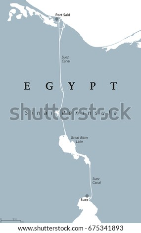 Mediterranean Political Map.Suez Canal Political Map Artificial Sealevel Stock Vector Royalty