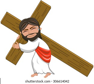 Suffering Jesus carrying Heavy Cross Isolated