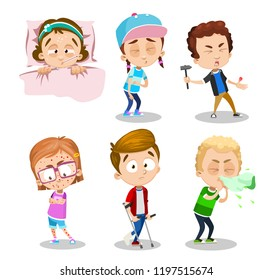 Suffering patients with different illnesses. Stomach ache, chickenpox bubble rash, runny nose and fever. Sick children with various symptoms. Boy with injured thumb and broken leg vector illustration