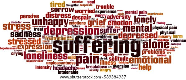 Suffering Word Cloud Concept Vector Illustration Stock