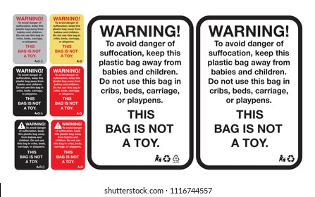 Suffocation Warning Label or sticker for Certain Plastic Bags, vector eps 10