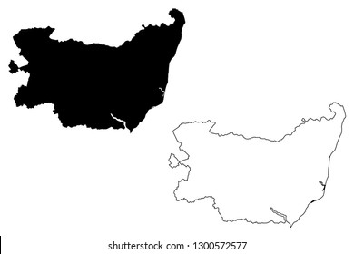 Suffolk (United Kingdom, England, Non-metropolitan county, shire county) map vector illustration, scribble sketch Suffolk map