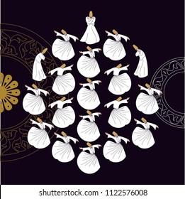 Sufi or Dervish. Symbolic study of mevlevi mystical dance.