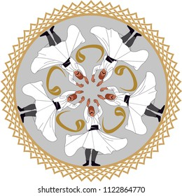 """Sufi or Dervish. Symbolic study of mevlevi mystical dance. You can use it as a table, wall clock, wall paper, banner, gift card or book separator.  """"Wav"""" written in Arabic letters"""