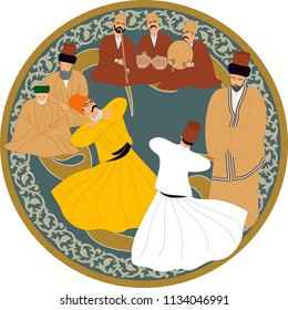 Sufi or Dervish. Symbolic study of mevlevi mystical dance. It can be used as wall board, banner, gift card or book separator.