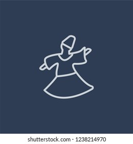 Sufi Mystic icon. Trendy flat vector line Sufi Mystic icon on dark blue background from Religion  collection.