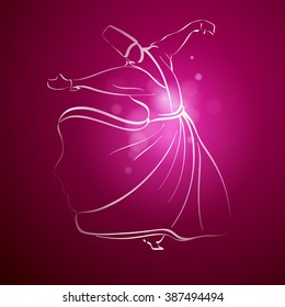 Sufi Whirling Dervish religous dance line sketch