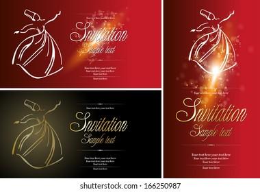 Sufi whirling dervish (Semazen), card design