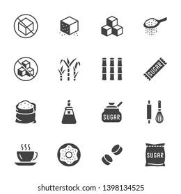 Sugar cane, cube flat glyph icons set. Sweetener, stevia, bakery products vector illustrations. Signs for sugarless food. Solid silhouette.