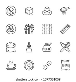 Sugar cane, cube flat line icons set. Sweetener, stevia, bakery products vector illustrations. Outline signs for sugarless food. Pixel perfect 64x64. Editable Strokes.