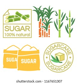 Sugar and sugar cane labels, icons isolated on white vector illustration