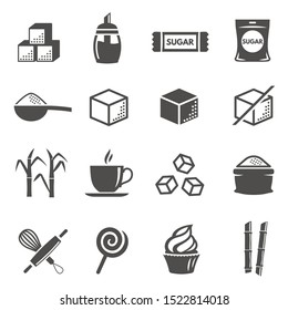 Sugar and confectionery black glyph icons vector set. Bakery equipment, coffee cup, lollipop, cupcake silhouette symbols. Sweet products, sugar packaging stick and basin isolated illustrations