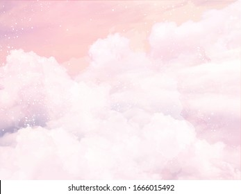 Sugar cotton pink clouds vector design background. Glamour fairytale backdrop. Plane sky view with stars and sunset. Watercolor style texture. Delicate card. Elegant decoration. Fantasy pastel color