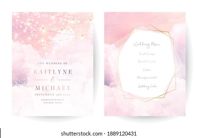 Sugar cotton pink clouds vector design backgrounds. Golden line geometric art. Plane sky view with stars and sunset. Watercolor style textures. Delicate cards. Elegant decoration. Fantasy pastel color