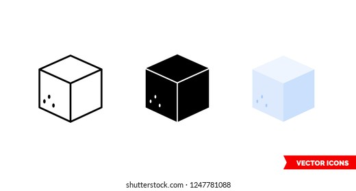 Sugar cube icon of 3 types: color, black and white, outline. Isolated vector sign symbol.