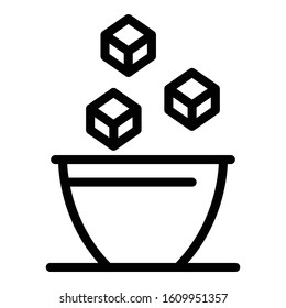 Sugar cubes in bowl icon. Outline sugar cubes in bowl vector icon for web design isolated on white background