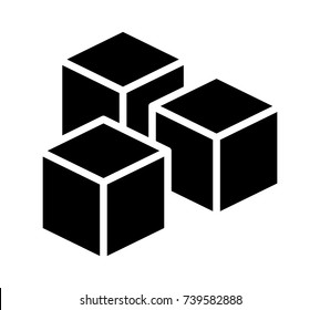 Sugar cubes or ice cubes flat vector icon for food apps and websites