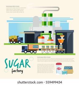 sugar factory. from cane to sugar process. sugar industrial concept - vector illustration