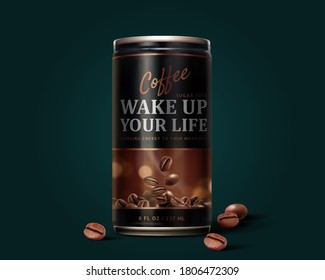 Sugar free black coffee can design in 3d illustration with roasted coffee beans elements on dark green background