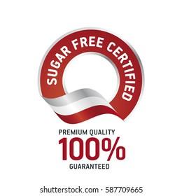 Sugar Free Certified red ribbon label logo icon