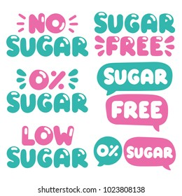 Sugar free. Concept for business store. Set of hand drawn doodles badges, icons. Flat vector illustrations on white background.