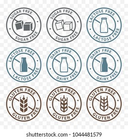 sugar free, dairy free, lactose free, gluten free packaging sticker label icons