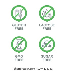 Sugar free, Gluten free, Lactose free, GMO free - set of vector attention signs - food cover tags for healthy natural organic nutrition
