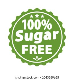 Sugar free green label, sign. Vector illustration