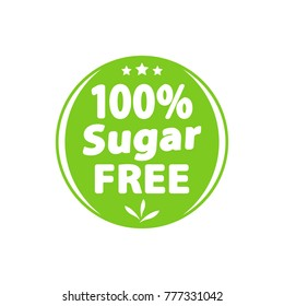 Sugar free green label, sign. Vector illustration.