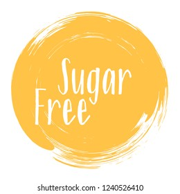 Sugar free icon, package label vector graphic design. Weight loss diet sugar free ingredients products label, sign, round stamp isolated clip art, circle tag or sticker vector emblem. Diet concept.