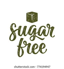 Sugar free lettering with cube. Vector dark green vintage illustration on white background.
