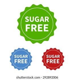 Sugar free or no added sugar food packaging seal or sticker flat vector icon