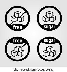 Sugar free vectorized icon, food icon set with and without sugar.