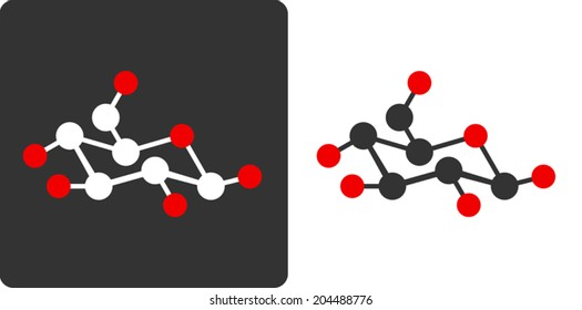 Sugar (glucose, beta-D-glucose) molecule, flat icon style. Carbon (white/grey) and oxygen (red) atoms shown as circles, hydrogen atoms omitted for clarity.