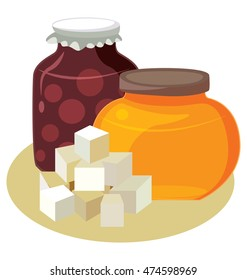 Sugar, honey, jam - simple carbohydrates. For your convenience, each significant element is in a separate layer. Eps 10