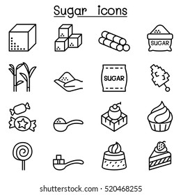 Sugar icon set in thin line style