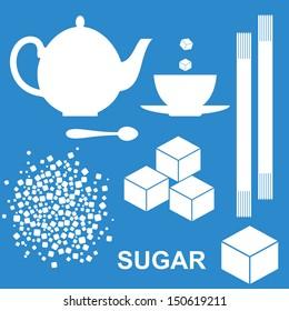 Sugar. Icon set. White sugar on blue background