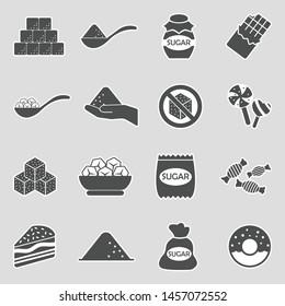 Sugar Icons. Sticker Design. Vector Illustration.