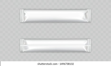 Sugar, instant coffee, chocolate bar blank white, plastic, foil sachet stick front, back view isolated, 3d realistic vector illustration. Food product, sweet snack disposable packaging mockup template