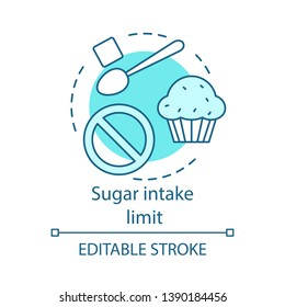 Sugar intake limit concept icon. Desserts ban. Unhealthy food restriction. Diet with low amount of sweets. Diabetic menu idea thin line illustration. Vector isolated outline drawing. Editable stroke