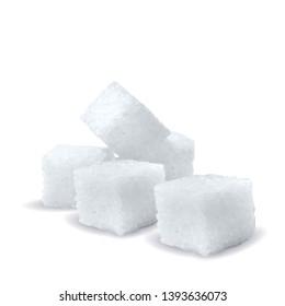 Sugar low poly. Sweet, nutritious, tasty sugar. Refined sugar vector. Refined sugar in triangulation technique. Vector illustration.