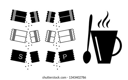 Sugar sachet icon or container icons with salt and paper isolated on white background. Disposable packaging stick with creamer or medicine sachets collection vector illustration