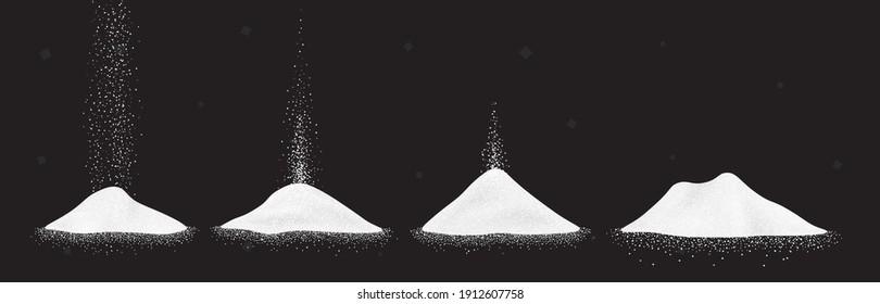 Sugar, salt or flour heap. Vector illustration set of white falling powder on black background