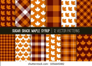 Sugar Shack Maple Syrup Tartan Plaid Vector Patterns. Brown Orange Check Plaid and Maple Leaf Prints. Breakfast Restaurant Menu Background. Repeating Pattern Tile Swatches Included.