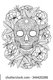 Sugar skull. A4 printable coloring book page.