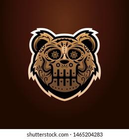 Sugar skull bear head esport team logo mascot