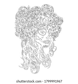 Sugar skull beautiful girl contour, Halloween makeup. Skeleton woman  at Day of the dead. Hand drawn outline, black and white stock vector , sketch for coloring book page